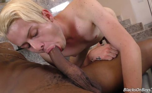 Blonde twink gets fucked hard by a gay black guy|10,922 views