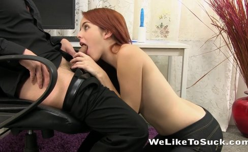 Kinky redhead licks cum from a keyboard after office blowjob|17,272 views