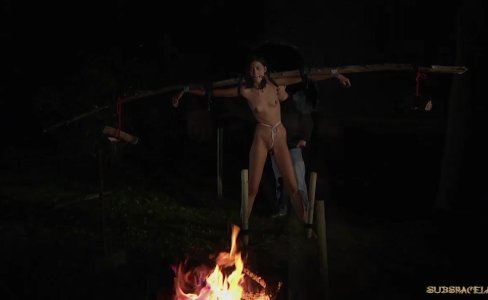 Brunette slave dominant by bondage pain swallows cumshot outdoor fucked|19,358 views