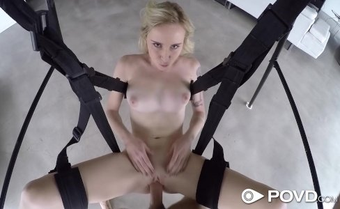 POVD - POV blonde Peyton Coast fucked on a sex swing|20,673 views