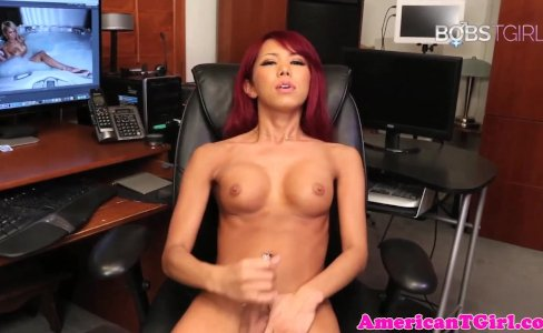 Gorgeous ladyboy pleasures herself with wank|8,862 views