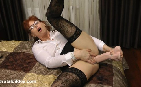 Mature secretary prolapses from brutal anal dildo|43,235 views