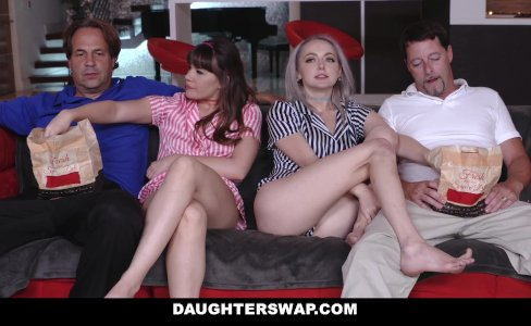 DaughterSwap - Teens fuck dads best friend during movie|56,758 views