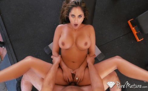 PureMature - Milf Reena Sky gags on big dick|56,959 views