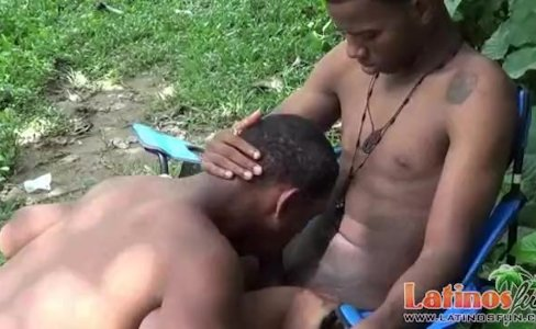 Horny brown gay Latinos give a blowjob outdoors|3,528 views