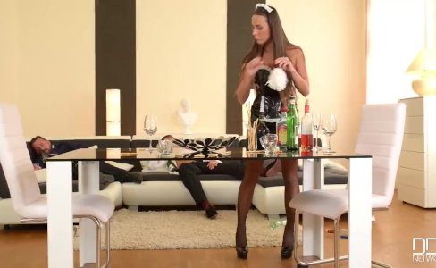 Flexible French Maid gets her Ass Double Penetrated by Boss|19,839 views