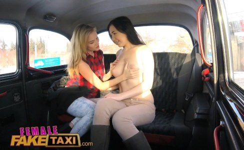 Female Fake Taxi Pretty brunette has 1st lesbian orgasm with strap-on cock|11,692 views
