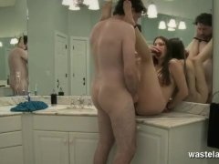Naked brunette takes a creampie