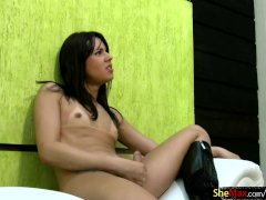 Beautiful chick with dick squirts her jizz