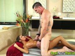 Titty fucked masseuse cum