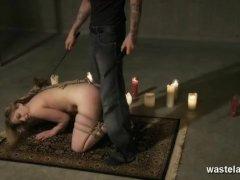 Bound Blonde slave sucks her Masters cock