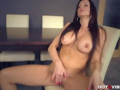 Brunette with perfect tits drills her vagina