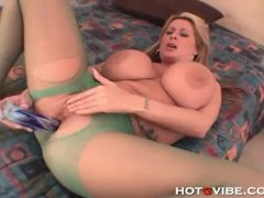 Busty milf babe gets horny and plays with her