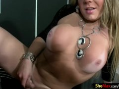 Blonde shemale teases bigtits and cums in glass of champagne