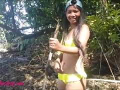 Heather deep get naked deepthroat big cock and creampie in the jungle