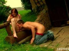 Slim redhead outdoor sex