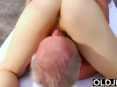 Old Young Porn - Teen Fitness Yoga Teacher seduces and fucks an old man