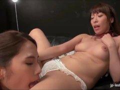 Kinky Japanese lesbians pussy licking