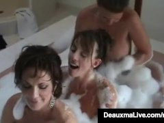 Busty Cougar Deauxma & Hot Horny Milfs in Bubble Bath 3 Way!