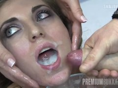 Premium Bukkake - Nona swallows 93 huge mouthful cum loads
