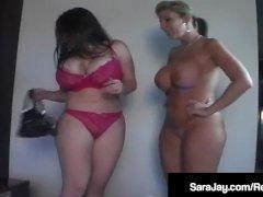 Busty Milf Sara Jay & Plump Daphne Rosen OilUp & Finger Fuck