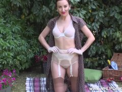 Babe Sophia Smith strips on picnic to flash firm tits pussy retro nylons