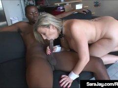 White On Black - Sara Jay Fucks A Huge Black Dick!
