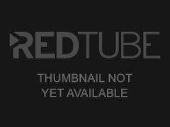 Masturbating babe in stockings uses hugedildo