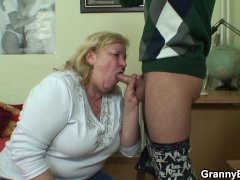 Plump cock hungry granny and boy