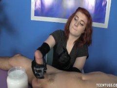 Dominant redhead teen handjob
