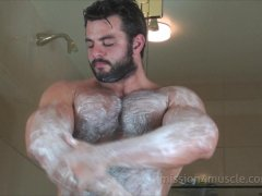 Bear shaving his fur off