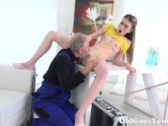 Lovely Vlada splits open her long legs