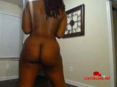 Big Booty Ebony Naked Pole Dancer