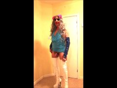 Grey haired tranny slut in blue scoop dress