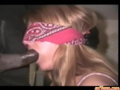 Amanda blindfolded