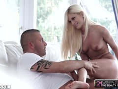 Little Blonde Gets on Top and Gives him Feet