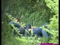 Hidden cam films sex in park