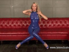 Sexy latex fetish of blonde Charlotte in tigh