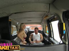 FemaleFakeTaxi Busty tit wank makes stud cum