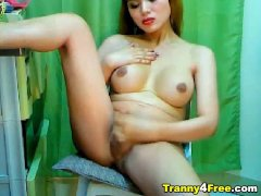 Asias Darling Toys with Tranny Cock