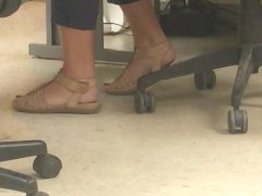 Moms feet at work