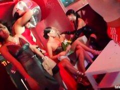 Hot bi girls sucking cocks at wild party