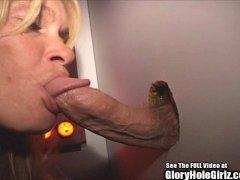 Blonde Wife Blowjob Whore Swallows Semen in Glory Hole