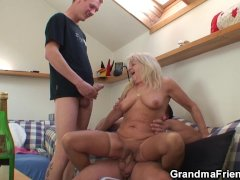 Boozed old grandmother rides and sucks cock