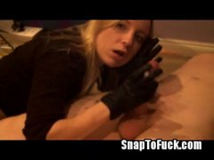 armature smoking bj in leather gloves from