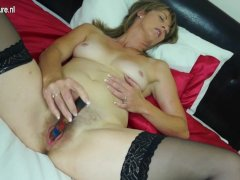 Hairy british mom playing with  onmilfcom