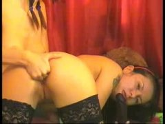 2 CHICKS EAT ASS AND PUSSY WITH HUGE TOYS IN THEIR ASS
