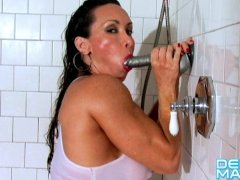 Denise Masino - Shower with a Silver Suction Dildo - Female Bodybuilder