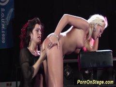 lesbian dildo porn on show stage