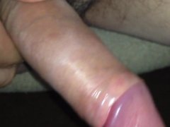 Making my dick hard and throbbing from foreskin play